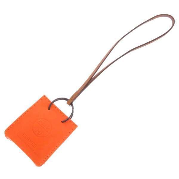 エルメスバッグチャームショッパーサックオランジュフー/ゴールドラムスキンD刻印HERMES2019年秋冬安心保証