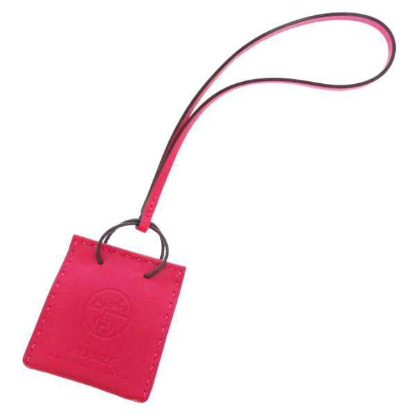 エルメスバッグチャームショッパーサックオランジュローズメキシコラムスキンY刻印HERMES2020年秋冬