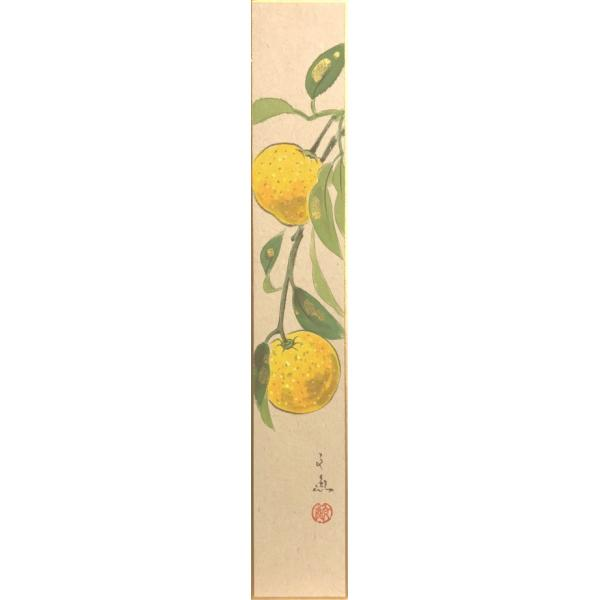 中谷文魚 『柚子』 短冊絵   絵画 日本画 果物 冬 魔除け