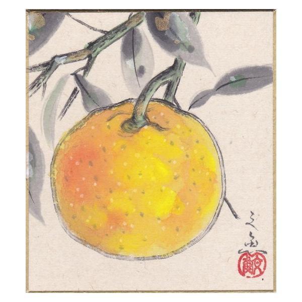 中谷文魚 『柚子』 ミニ色紙絵(寸松庵)    絵画 日本画 果物 冬 メール便 ネコポス