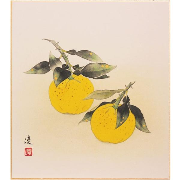 中村 凌 『柚子』 色紙絵  絵画 日本画 果実 縁起物 黄色 魔除け メール便 ネコポス