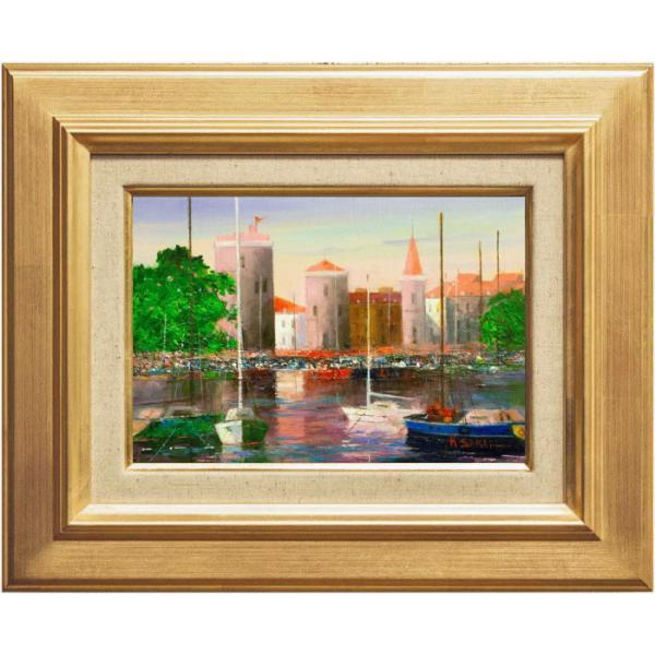 酒井健吉 『ラ・ロシェル港』 油絵・油彩画 SM(サムホール)|gallery-uchida