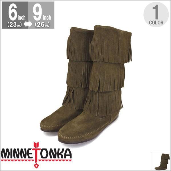 ミネトンカ MINNETONKA モカシン ブーツ フリンジ Calf hi 3-layer fringe boot 3段フリンジ 3レイヤーフリンジブーツ 1635F|gallerymc
