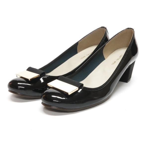 パンプス 走れるパンプス 痛くない 歩きやすい 日本製 靴 レディース エナメル チャンキーヒール バックル 通勤 パーティ