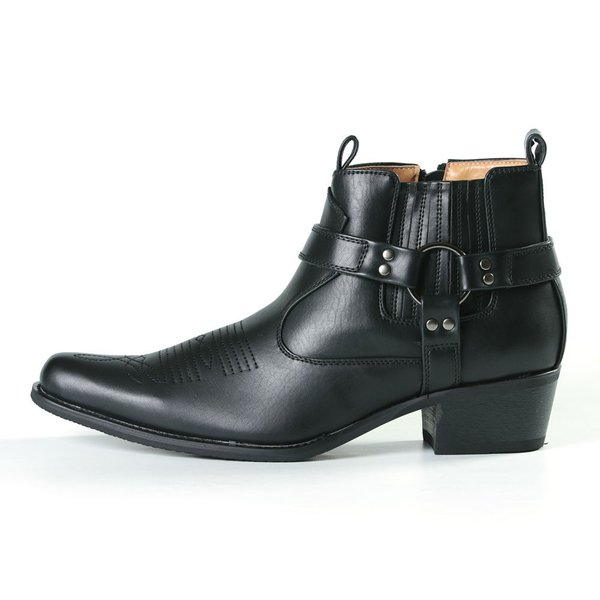 クレーン CRANE メンズブーツ メンズ ショートブーツ ウエスタンブーツ リングブーツ 5.5cmヒール サイドジッパー サイドジップ 紳士靴 コスプレ