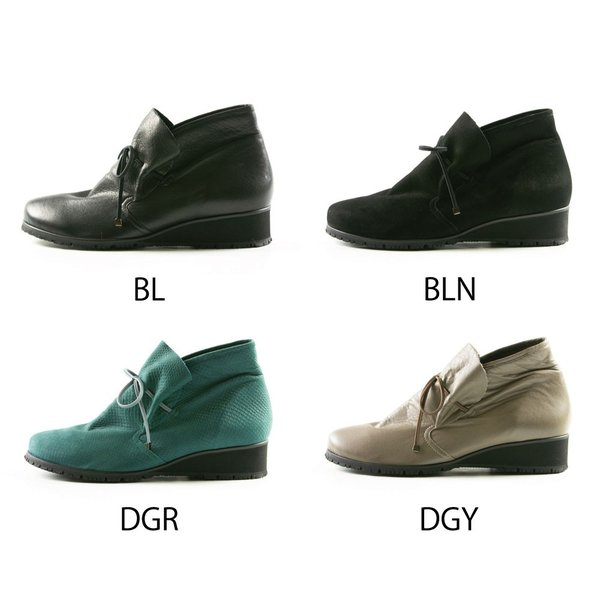 ブーツ ショートブーツ チャッカー 歩きやすい ブラック ぺたんこ 930 21 21.5 22 22.5 23 23.5 24 24.5 25 ギャラリー フットプレイス
