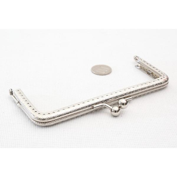 2354 がま口 口金 15cm シルバー 角型 横カン付き 装飾フレーム 縫い付けタイプ|gamagutinoyumemall|03