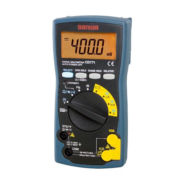 三和電気計器(株) SANWA デジタルマルチメータ バックライト搭載 CD771 1個【326-0879】