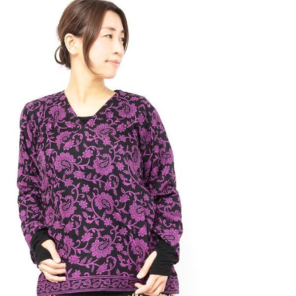 エスニック ブラウス シャツ ペイズリー柄 レディース インド エスニック ファッション アジアン ファッション プルオーバー Vネック
