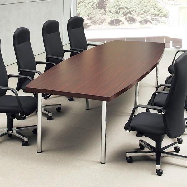 高級ミーティングテーブル 重厚43mm ボート型天板 W2400×D1200mm DXM-2412B  椅子は別売|garage-murabi|03