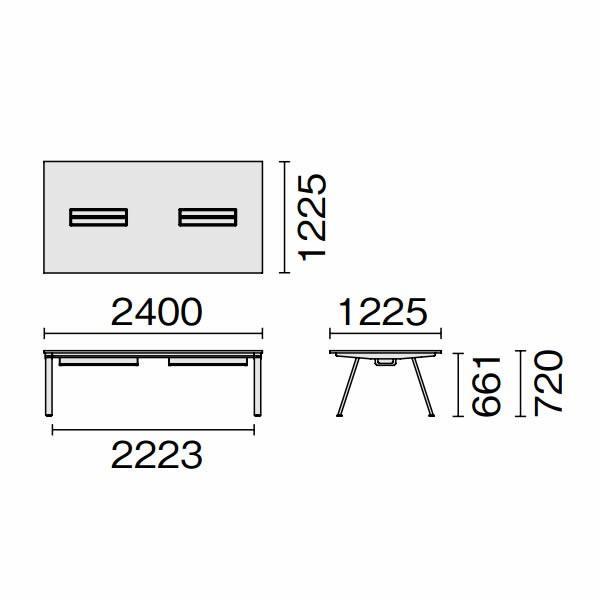 組立・設置迄 Genelaシリーズ ミーティングテーブル W2400×D1225×H720mm PLUS GE-2412M T2/BK J664473|garage-murabi|02