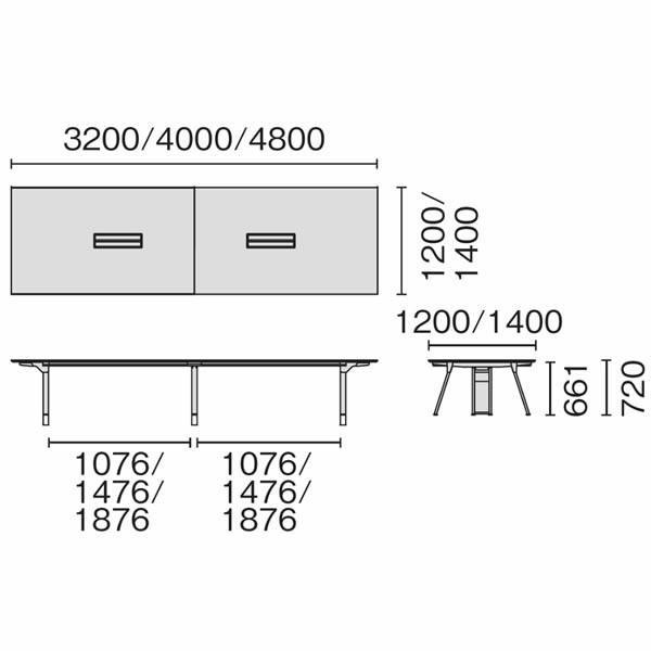 組立・設置迄 Genelaシリーズ カンファレンステーブル W4000×D1400×H720mm PLUS GE-4014C J664466|garage-murabi|02