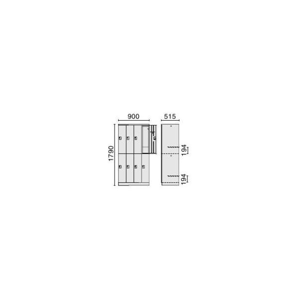 オフィスロッカー  2段8人用 ダイヤル錠 LH-82D ホワイト PLUS 【設置迄】 garage-murabi 02