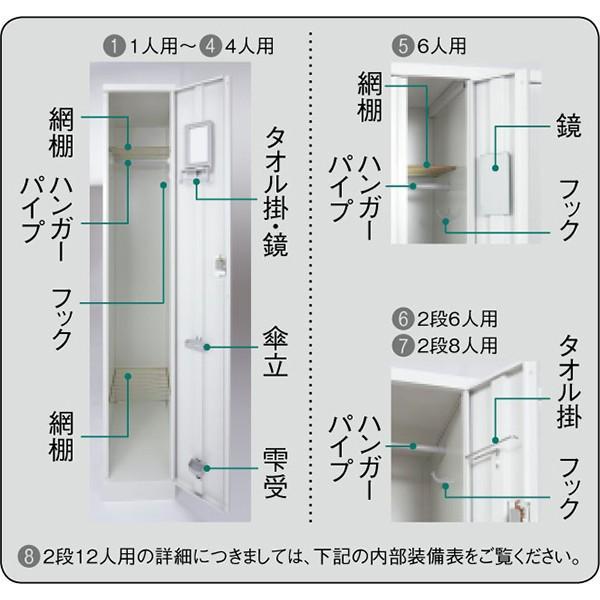 オフィスロッカー  2段8人用 ダイヤル錠 LH-82D ホワイト PLUS 【設置迄】 garage-murabi 03