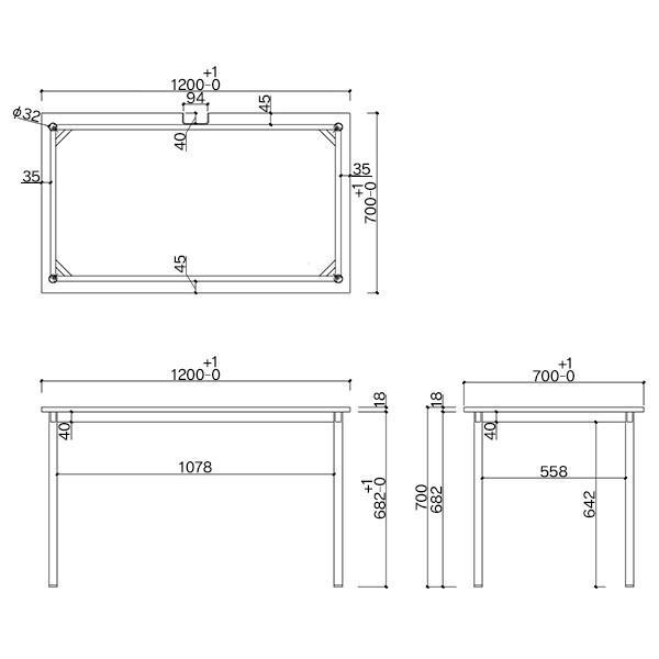 SHシンプルテーブル W1200×D700 ホワイト/キャップ3色付 Z-SHST-1270WHW デスク ワークテーブル オフィス 机|garage-murabi|04