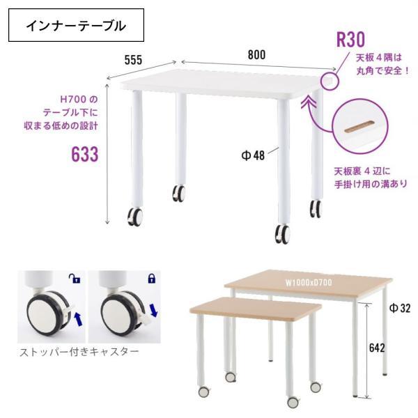 2色 受付カウンター 900mm インナーデスク インナーテーブル に キャスター付 幅800×奥行600弱×高633 SHST-INNA|garage-murabi|04