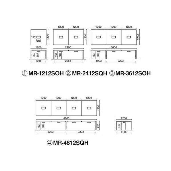 PLUS増連型ミーティングテーブル W1200×D1200mm ホワイト 配線ボックス有 MR-1212SQH WH/BK フリーアドレス ワイドテーブル|garage-murabi|05
