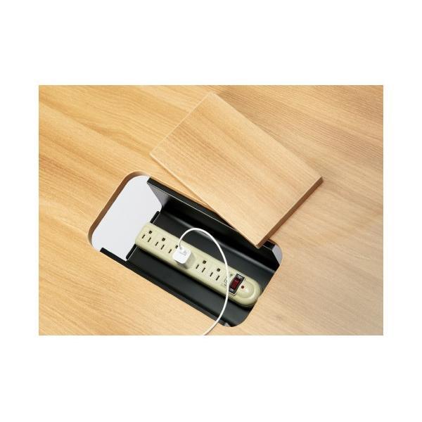 PLUS増連型ミーティングテーブル W2400×D1200mm ホワイト 配線ボックス有 MR-2412SQH WH/BK フリーアドレス ワイドテーブル|garage-murabi|04