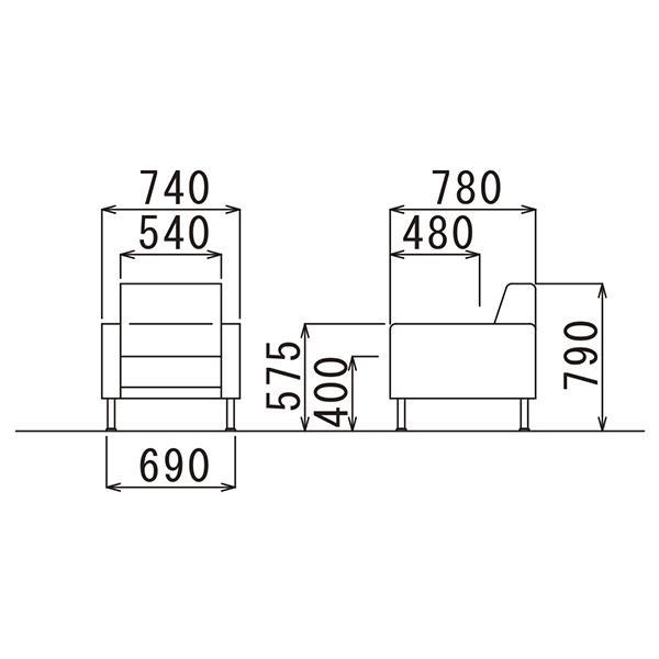 事務所応接セット プレッグ 4点セット アイボリー/ブラック ビニールレザー AICO RE-1581 RE-1583|garage-murabi|04