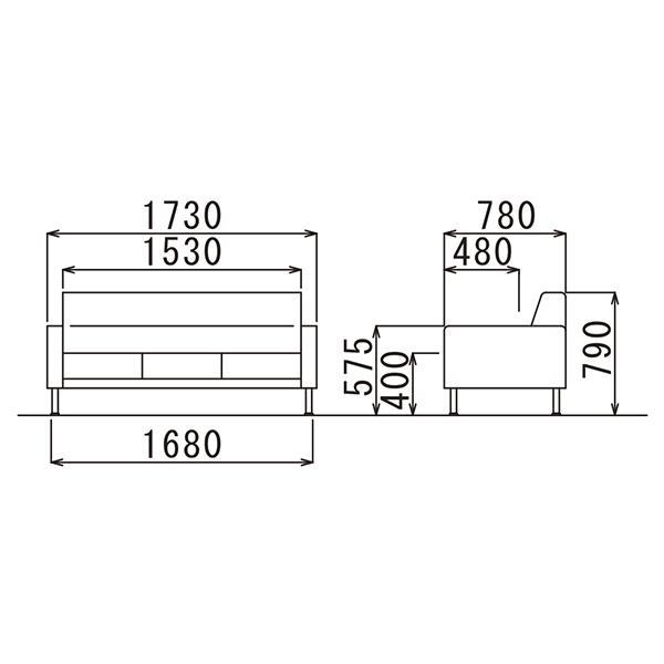 事務所応接セット プレッグ 4点セット アイボリー/ブラック ビニールレザー AICO RE-1581 RE-1583|garage-murabi|05