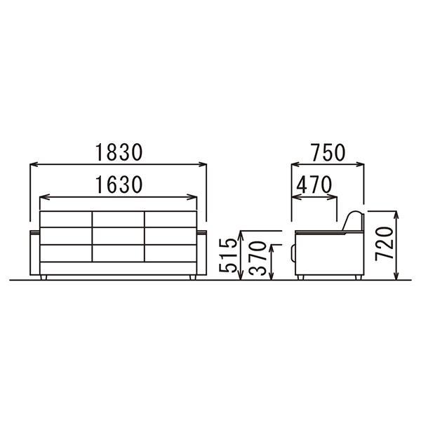 4/4テーブル在切:事務所応接 4点セット スターブ ロビーチェアとセンターテーブルセット ブラック/ダークブラウン  ビニールレザー RE-1741 RE-1743|garage-murabi|06