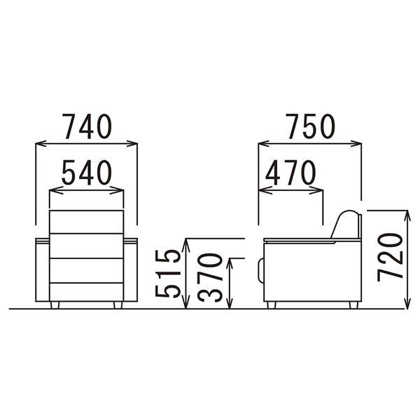 4/4テーブル在切:事務所応接 4点セット スターブ ロビーチェアとセンターテーブルセット ブラック/ダークブラウン  ビニールレザー RE-1741 RE-1743|garage-murabi|07