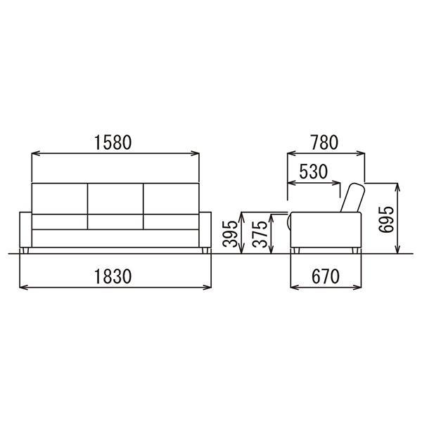 AICO アテッサ 応接セットでソファ ベッドに RE-1813 BK 黒ブラック  簡易ベッド 仮眠ベッド|garage-murabi|02