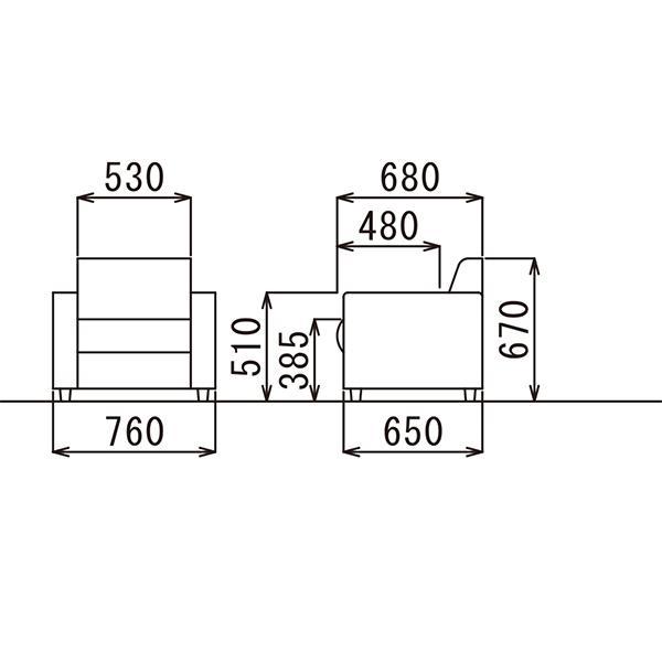 即納目標商品 アテッサ応接4点セット RE-1841 RE-1843-set 黒/ブラウン ビニールレザー張り|garage-murabi|03