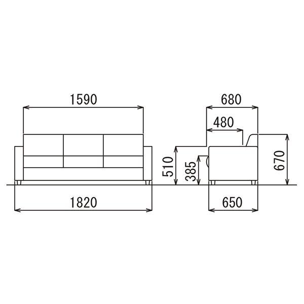 即納目標商品 アテッサ応接4点セット RE-1841 RE-1843-set 黒/ブラウン ビニールレザー張り|garage-murabi|04