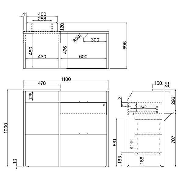 全て上質材質使用レジカウンターワイド【ホワイト】追加棚板付 大小各2枚 オリジナルセット レジ台 W1099×H1000mm 木製 おしゃれ 店舗 RFRGCW-WH|garage-murabi|05