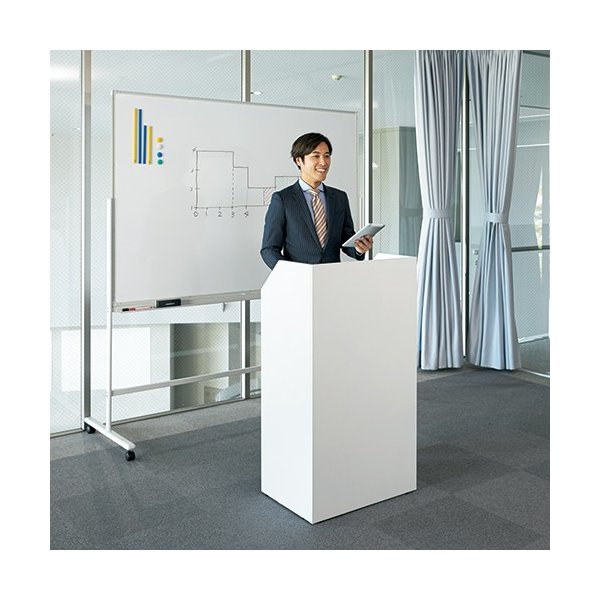 演説台  教壇、教卓にも   ホワイト 2色  W600×H1100 SHEN-WH J869315 garage-murabi 05