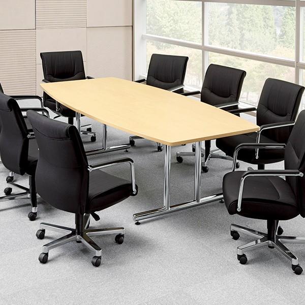 高級ミーティングテーブル 大型 25mm ボート型天板 II脚 クローム仕上 W2400×D1200mm WT-2412B  椅子は別売|garage-murabi|02
