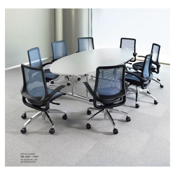 高級ミーティングテーブル 大型 25mm ボート型天板 II脚 クローム仕上 W2400×D1200mm WT-2412B  椅子は別売|garage-murabi|03