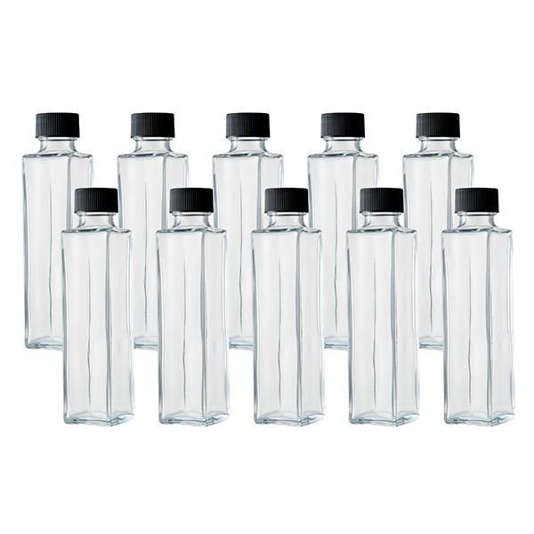 ハーバリウム、ドレッシング、タレ、オイルなどで使える ガラス瓶・透明瓶・角瓶 SSE-150A 164ml 10本セット
