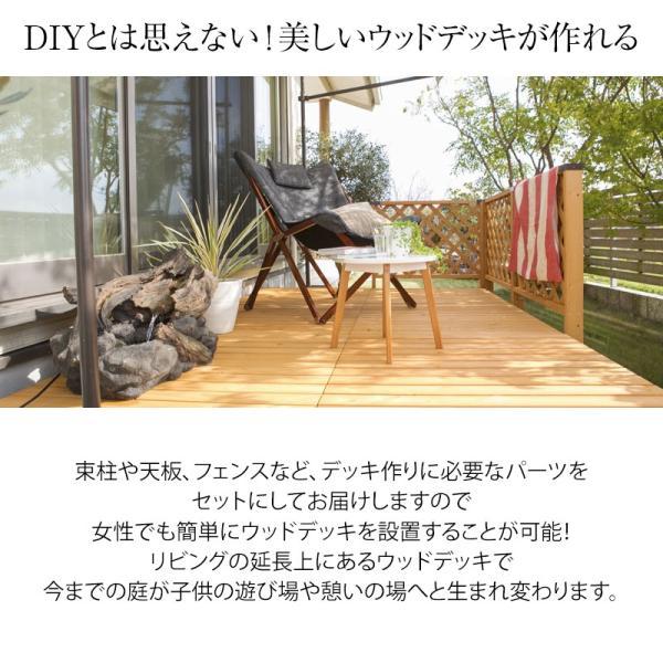 ウッドデッキ セット/システムデッキ 1坪 ナチュラル/SDW-N/DIY/木製デッキ/梱包サイズ特大|garden|02