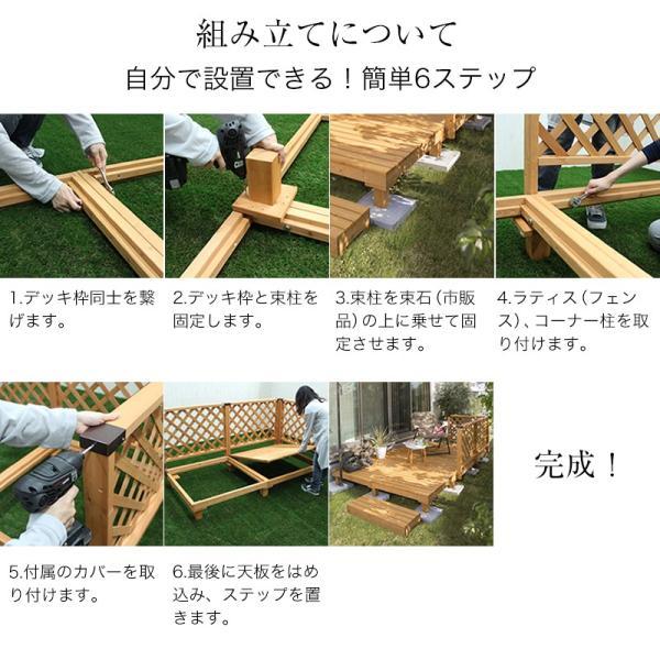 ウッドデッキ セット/システムデッキ 1坪 ナチュラル/SDW-N/DIY/木製デッキ/梱包サイズ特大|garden|04
