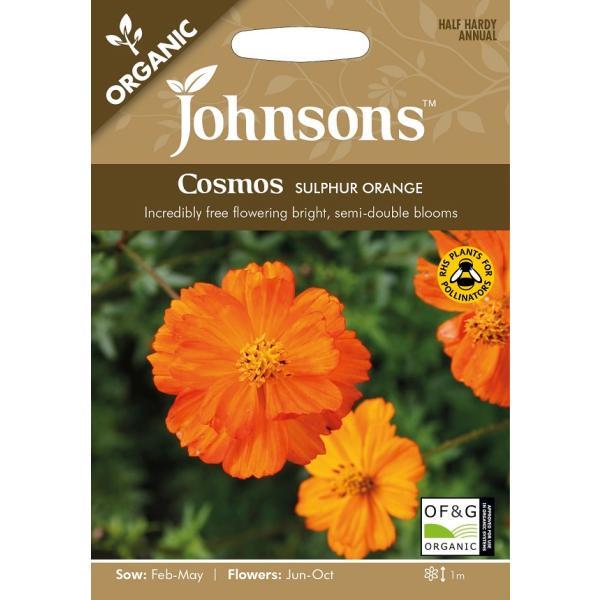 【輸入種子】 Johnsons Seeds ORGANIC Cosmos SULPHUR ORANGE オーガニック コスモス サルファー・オレンジ ジョンソンズシード