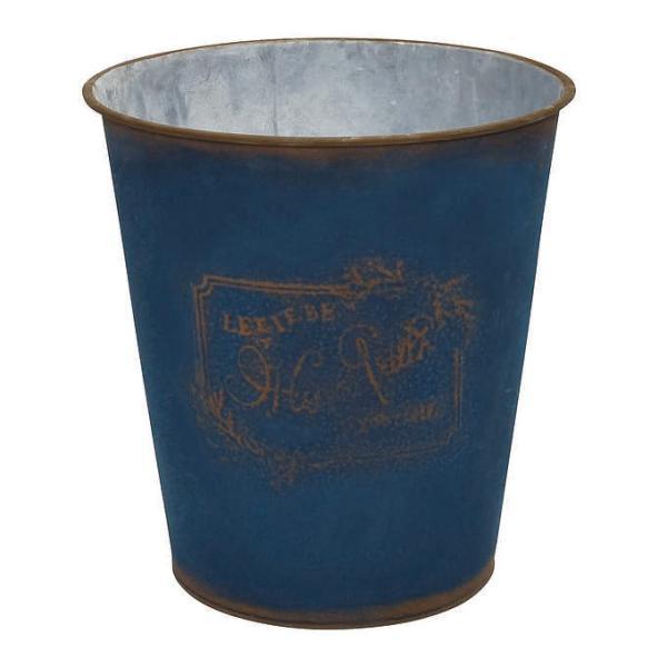 フラワーポット ブリキ シンプル 鉢 おしゃれ クレヨンカラー アンティーク プランターカバー バケツ型 ネイビー 7号