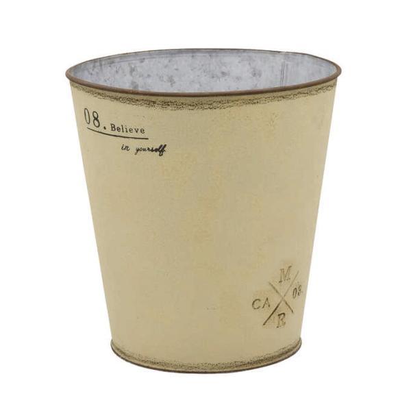 フラワーポット ブリキ シンプル 鉢 おしゃれ クレヨンカラー アンティーク プランター バケツ MSR06 ベージュ 直径21cm
