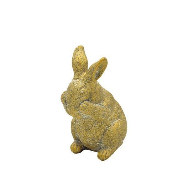 ガーデン 置物 うさぎ ラビット かわいい 飾り アンティーク 見ざるウサギ ゴールド