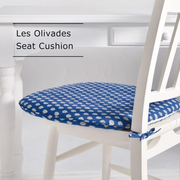 Les Olivades ブティ バテイ シートクッション 43cm×45cm 南仏 プロヴァンス レゾリヴァード キルト 馬蹄型 紐付き|gardiner