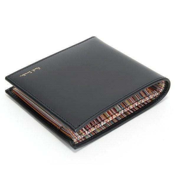 名入れ ポールスミス 財布二つ折り財布 ブラック 黒×マルチストライプ M1A 4833 AMULTI 79 薄型財布 プレゼント 刻印|garlandstore|03