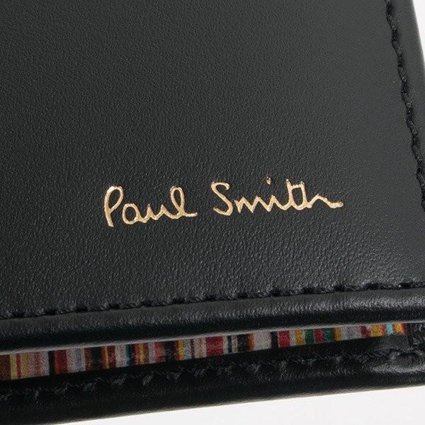 名入れ ポールスミス 財布二つ折り財布 ブラック 黒×マルチストライプ M1A 4833 AMULTI 79 薄型財布 プレゼント 刻印|garlandstore|04