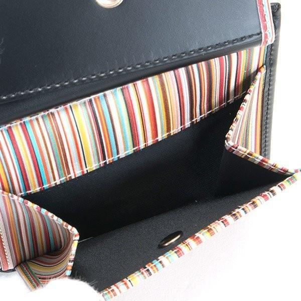 名入れ ポールスミス 財布二つ折り財布 ブラック 黒×マルチストライプ M1A 4833 AMULTI 79 薄型財布 プレゼント 刻印|garlandstore|06