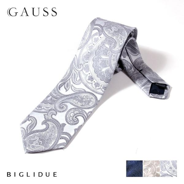 BIGLIDUE ペイズリー 柄 シルク 絹 ネクタイ 結婚式 二次会 パーティー ブランド|gauss