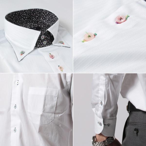 メンズ ワイシャツ 結婚式 二次会 スーツ BIGLIDUE デュエボットーニ カラー ボタンダウン 長袖 シャツ カジュアルシャツ パーティー ブランド|gauss|06