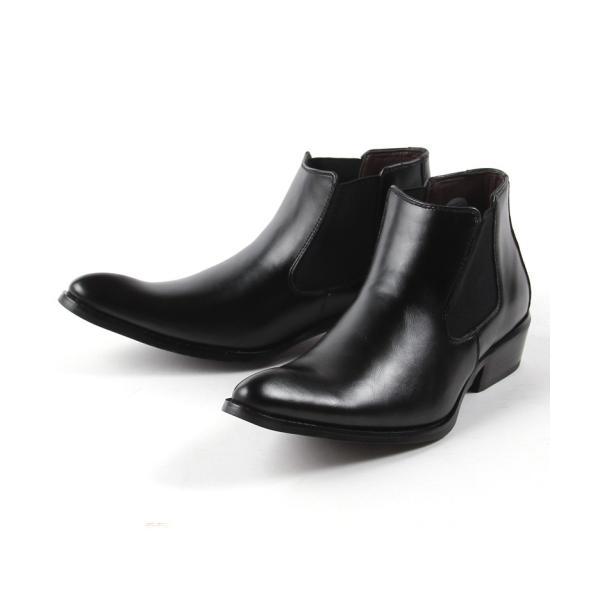 本革 レザー サイドゴア ブーツ メンズ 靴 シューズ 結婚式 二次会 パーティー ブランド Black on TETE HOMME|gauss|02
