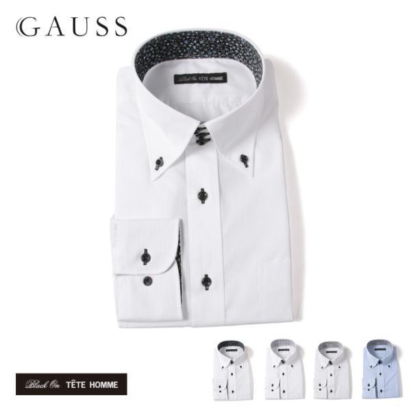 Black on TETE HOMMEボタンダウン シャツ 長袖 ワイシャツ カジュアルシャツ メンズファッション 結婚式 二次会 パーティー ブランド|gauss