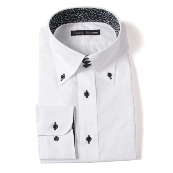 Black on TETE HOMMEボタンダウン シャツ 長袖 ワイシャツ カジュアルシャツ メンズファッション 結婚式 二次会 パーティー ブランド|gauss|02