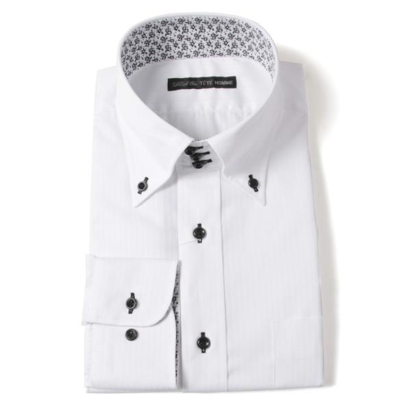 Black on TETE HOMMEボタンダウン シャツ 長袖 ワイシャツ カジュアルシャツ メンズファッション 結婚式 二次会 パーティー ブランド|gauss|04